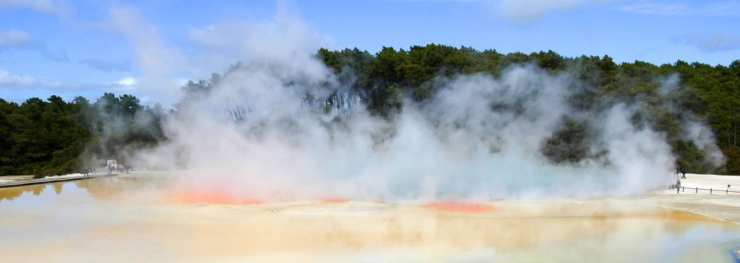 Artist's Palette at noon at Waiotapu Geothermal Park near Rotorua New Zealand for boomervoice