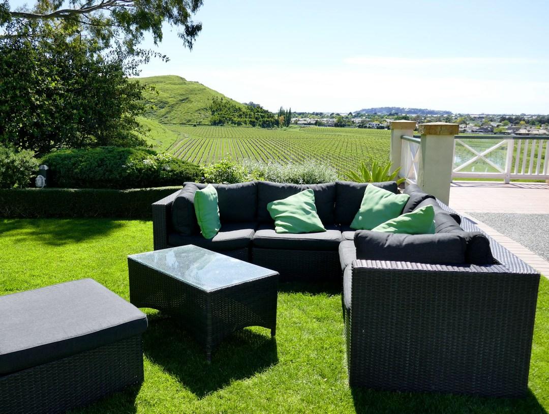 Back patio overlooking vines in Napier New Zealand for boomervoice