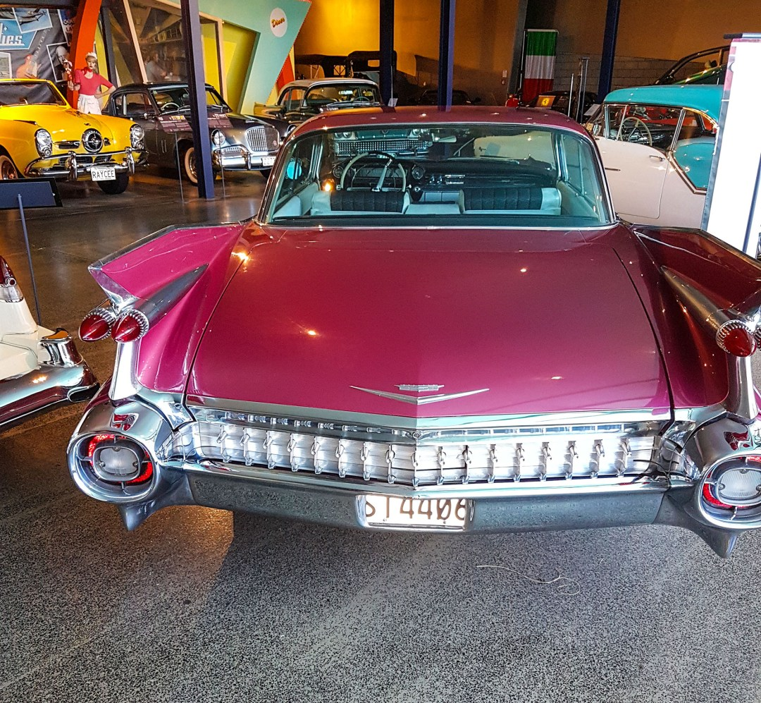 Cadillac 1959 rear at WOW Classic Cars for boomervoice