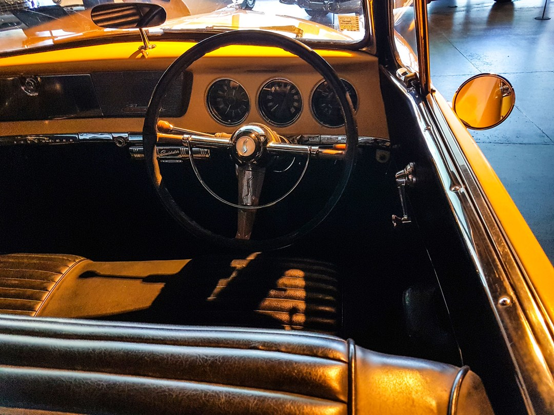 Studebaker driver seat at WOW Classic Cars for boomervoice