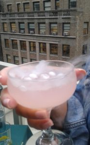 The lavander aviator cocktail with dry ice