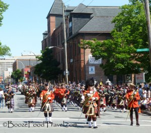 Bagpipes and drums at the end of the parade
