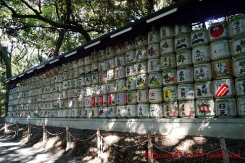 Sake jars on the path to the shrine
