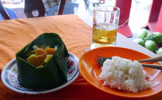 Amok with rice and Cambodian beer