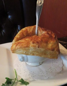 The signature  Mussels Bisque En Croute  at Dobson's.