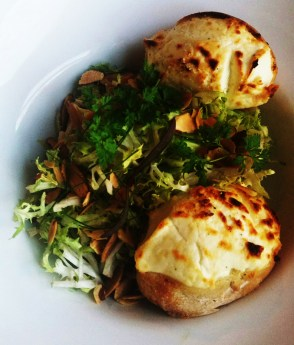 frisee salad with goat cheese toast sm