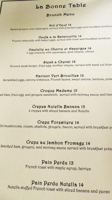 A few of the offerings on the oh-so-French Brunch menu.