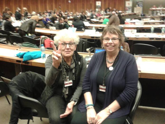 Jeanne & Linda at the Geneva NGO Forum - Beijing+20