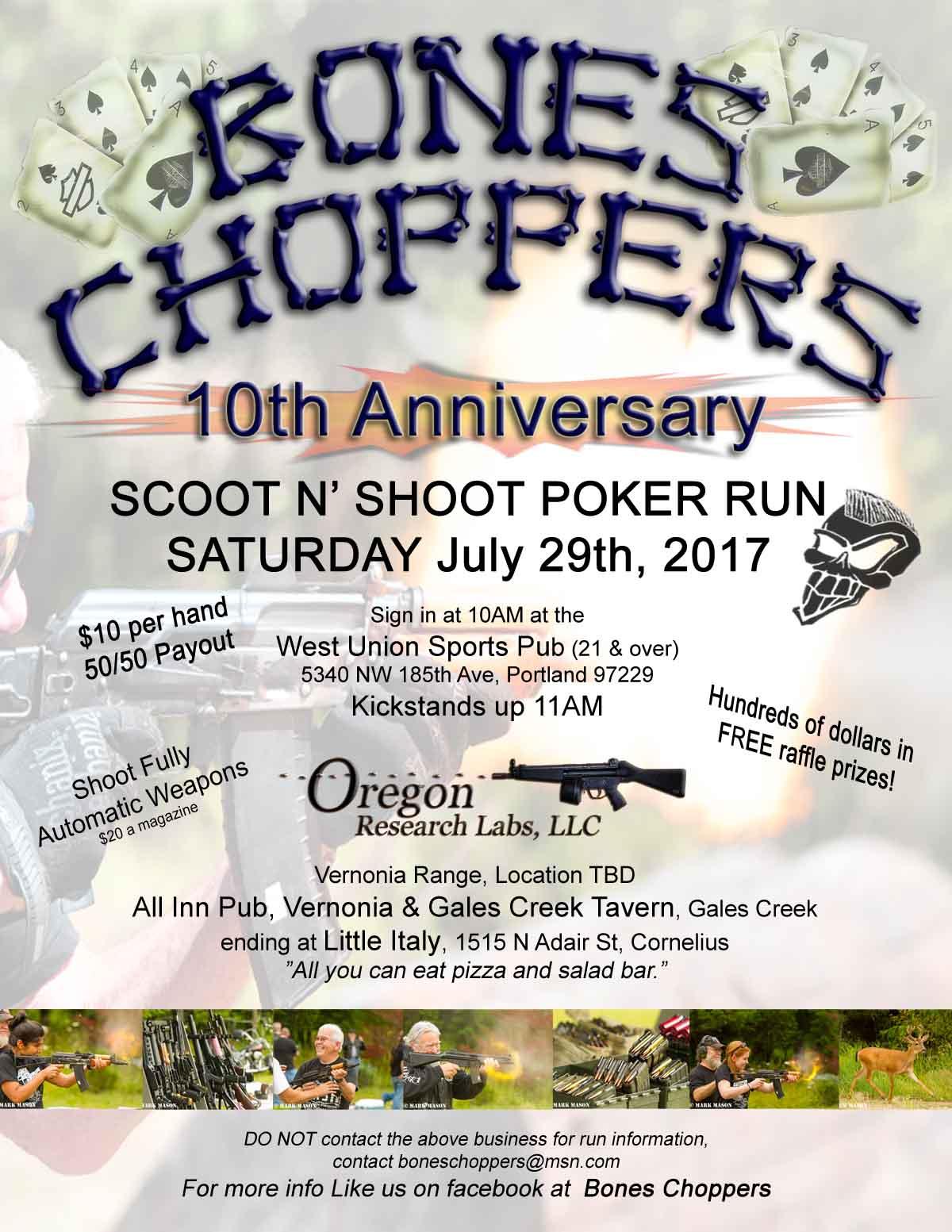 Boneschoppers 10th Anniversary Scoot N Shoot Poker Run