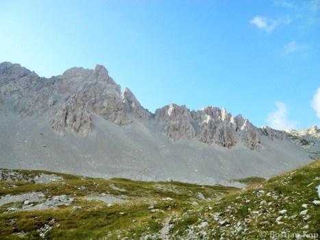 Morebitni skalnati ledenik, v ozadju melišča