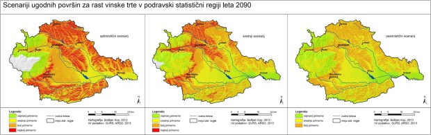 Changes in vine growing suitability in Podravska region as a result of expected climate change