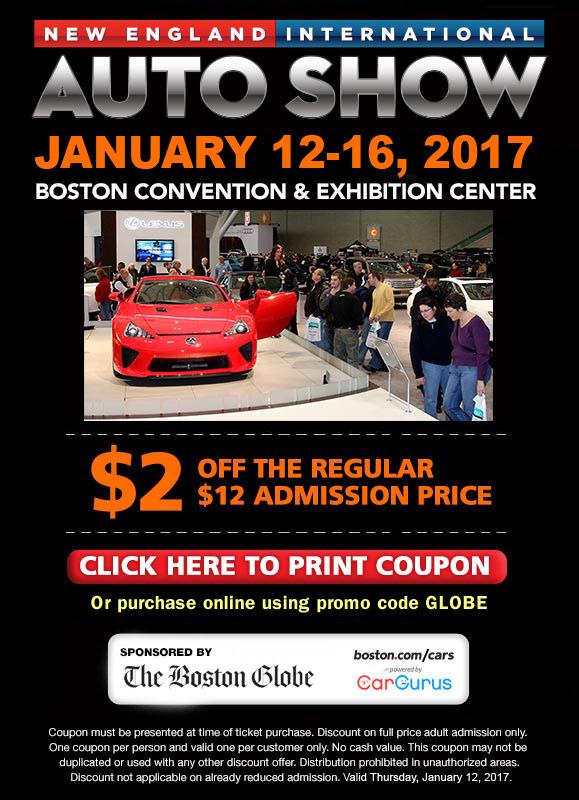 Boston Auto Show Discount Coupon 2017