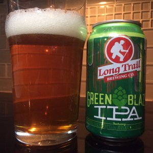 Long Trail Green Blaze IPA poured into a nonic pint glass.