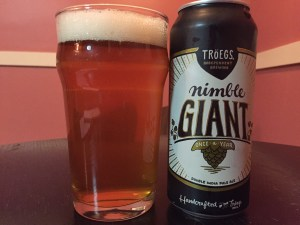 Troegs Nimble Giant Double IPA poured into a nonic pint glass.