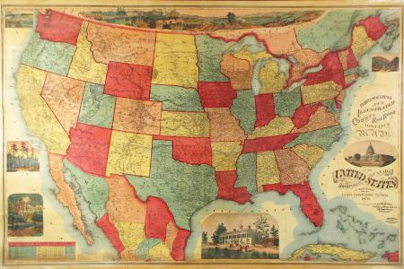 unrecorded vt of a lovely wall map of the u.s. rare