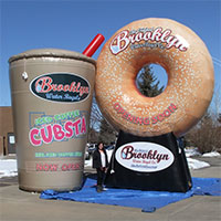 Brooklyn Water Bagels Cubsta Cup and Bagel Inflatable Foods
