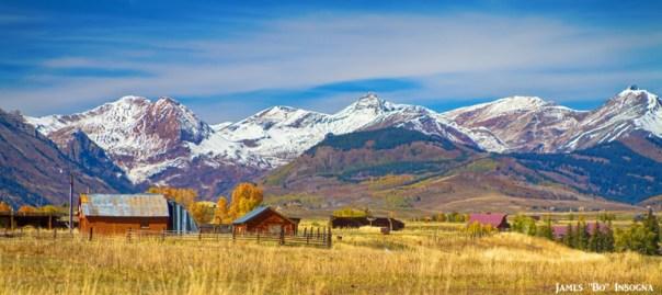 Colorful Crested Butte Colorado Autumn Landscape Panorama