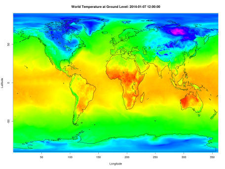 World temperature at 2 m above ground, generated using rNOMADS.