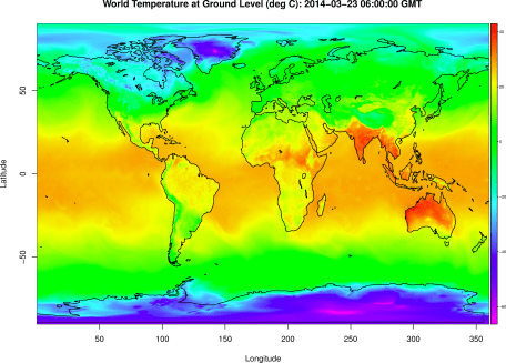 Temperature at the Earth's surface determined using the Global Forecast System model.
