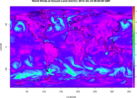 Winds at the surface of the Earth from the GFS model.  Note the little spot of high winds - that's Tropical Cyclone Gillian, a Category 3 storm when this image was generated.
