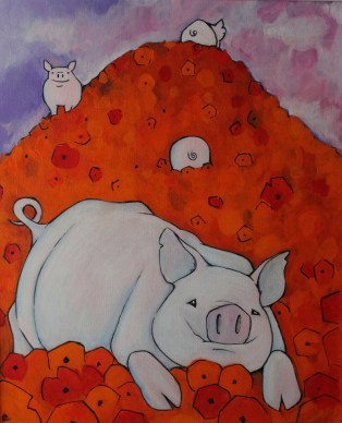 PIG IN POPPIES