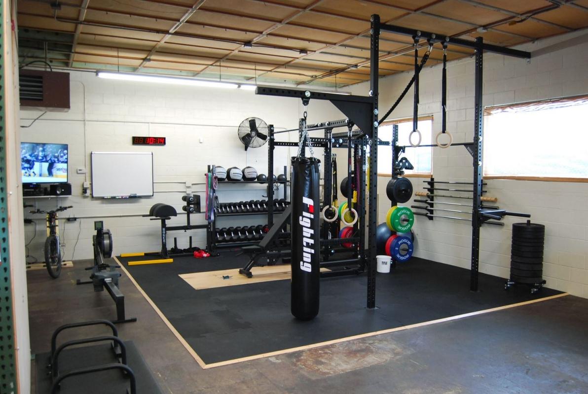 Movestrong garage set up dynabells pullup bracket system garage