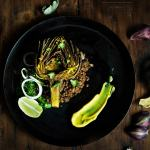 Turmeric Roasted Artichokes with Lentils and Lemon Turmeric Aioli I Boxofspice