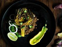 Turmeric Roasted Artichokes with Lentils and Lemon Turmeric Aioli I Boxofspice