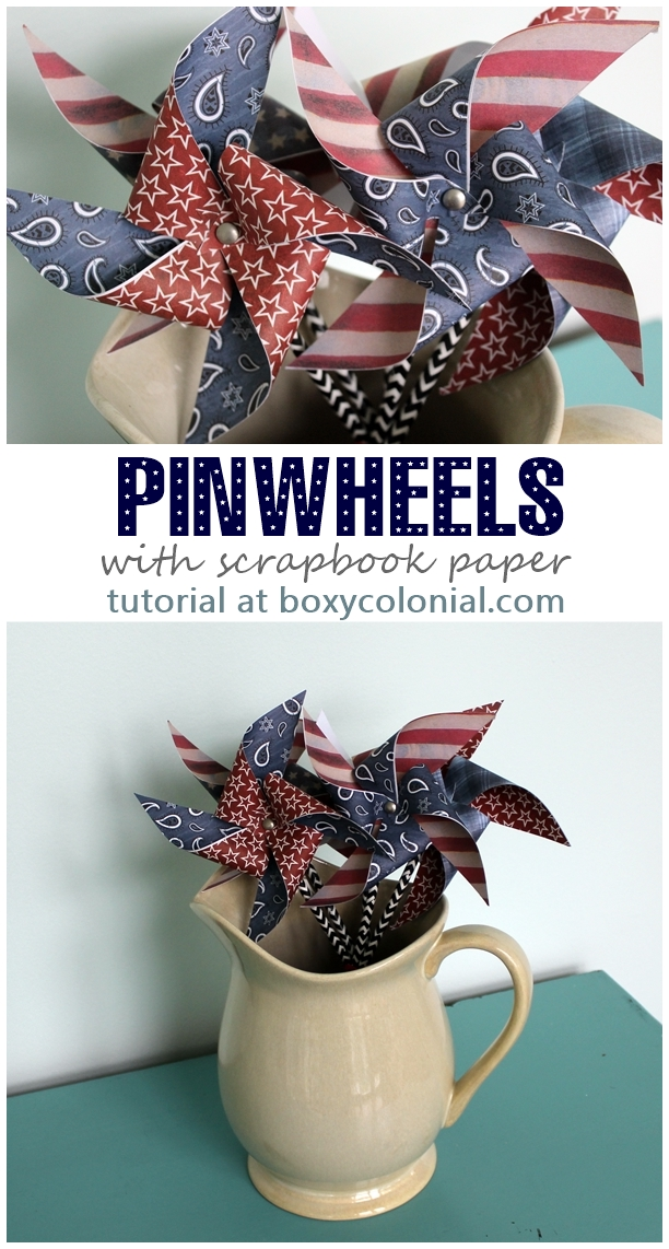 Step by step photo tutorial to make these scrapbook paper pinwheels