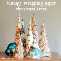 Cone Christmas Trees from Vintage Wrapping Paper (to go with your glittery dinosaurs)