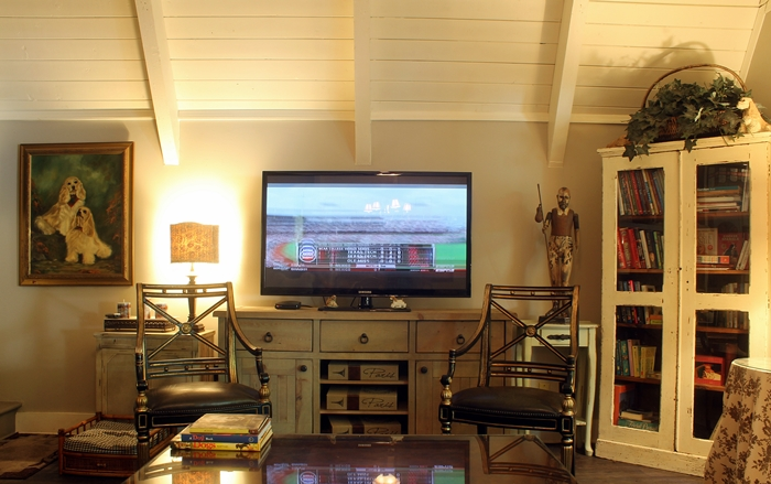 cottage living room with TV stand and hutch for book storage