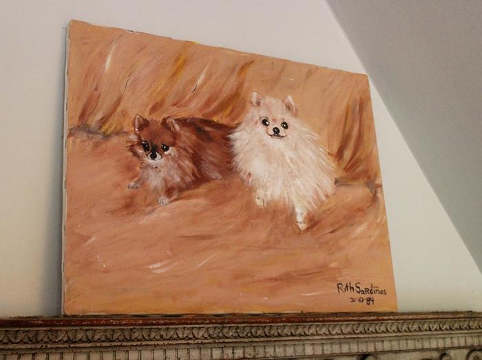 vintage Pomeranians oil painting