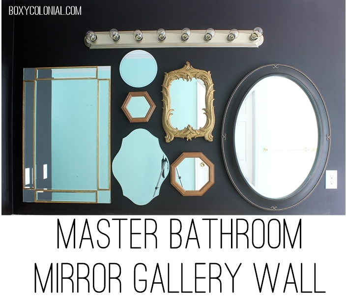 A gallery wall of mirrors for a master bath with awkward vanity/sink placement
