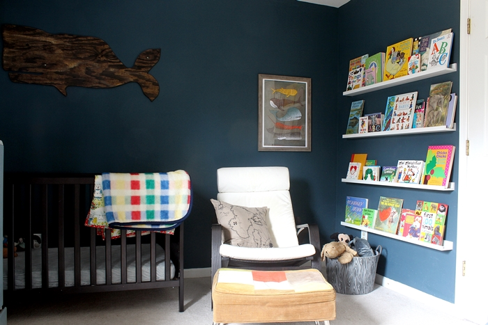 Reading corner with Artollo Ocean print