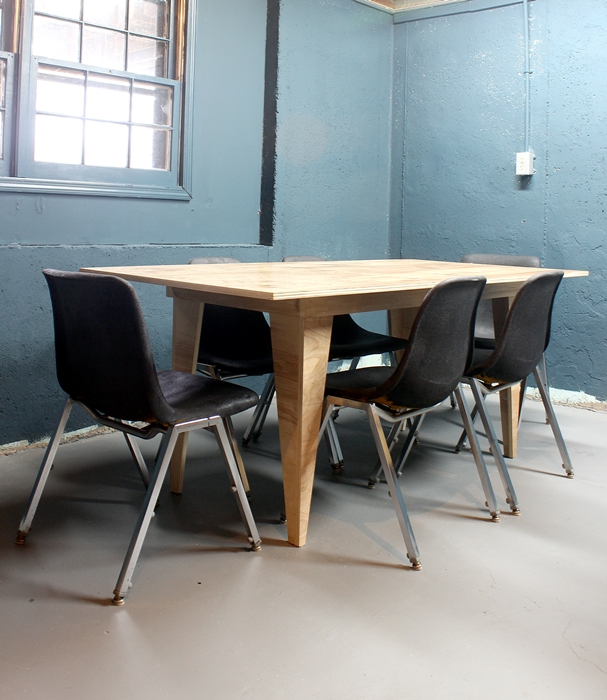 modern birch table and vintage chairs painted black