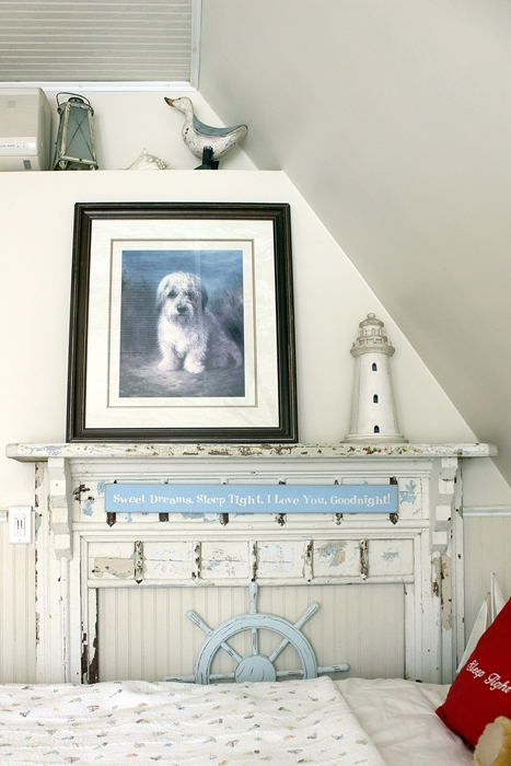 old mantel and dog print in kids' seaside room