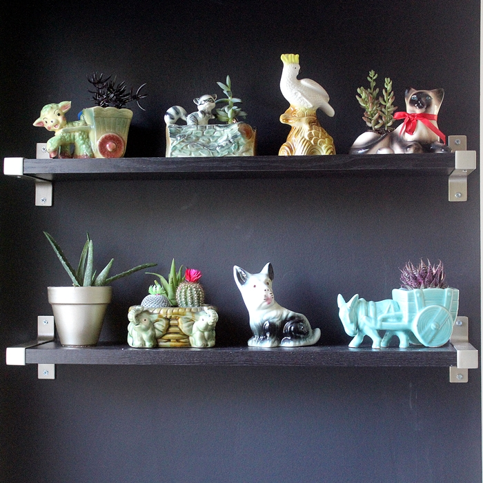 Ikea shelves with vintage planter collection