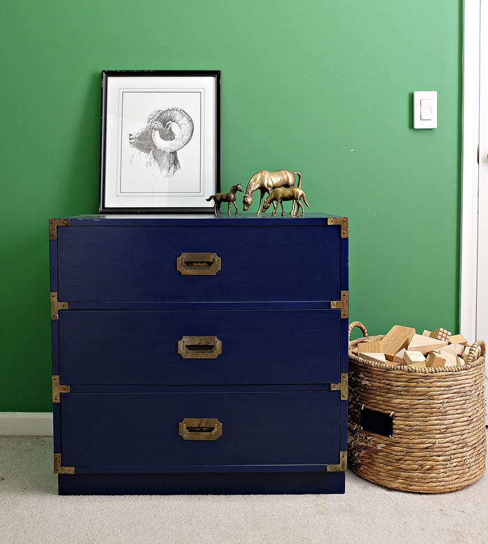 Campaign chest makeover with Wagner paint sprayer and Behr indigo ink navy paint