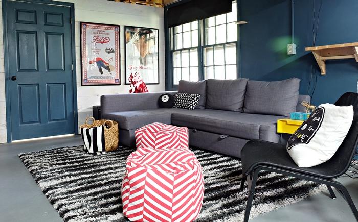 basement rec room with Ikea friheten