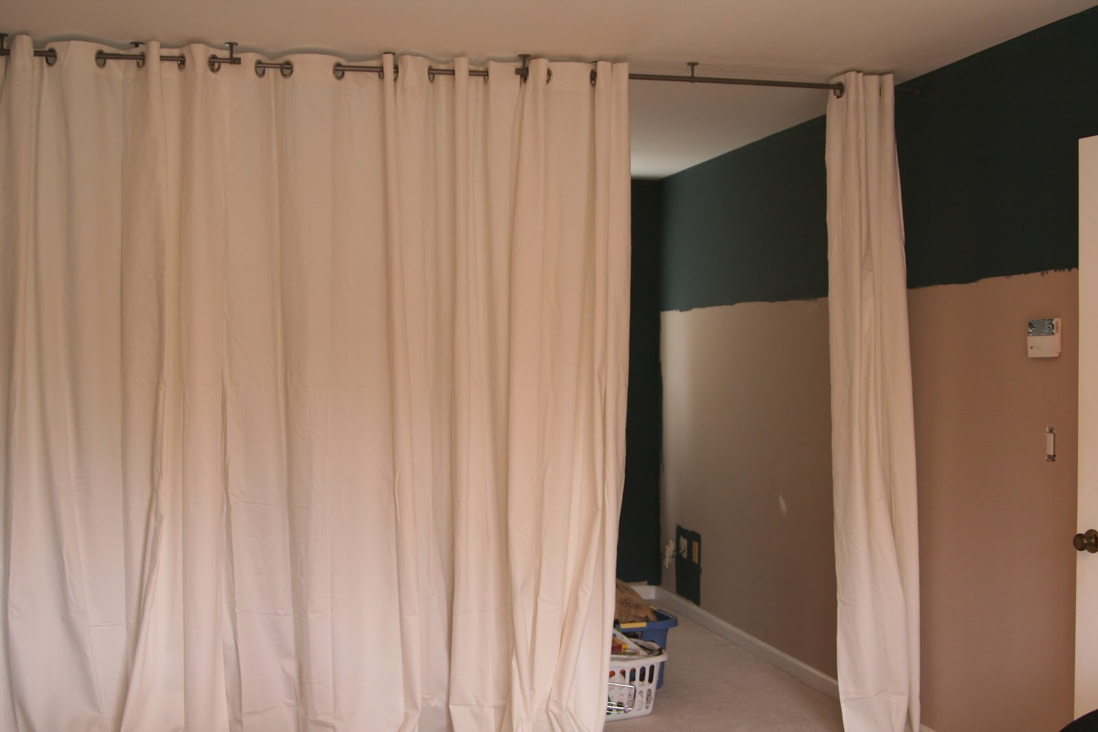 Room dividers curtain track - There Are Six Panels Total So We Can Open It Up Anywhere But There S Probably Going To A Dresser On The Other Side In The Middle So We Ll Probably Mostly