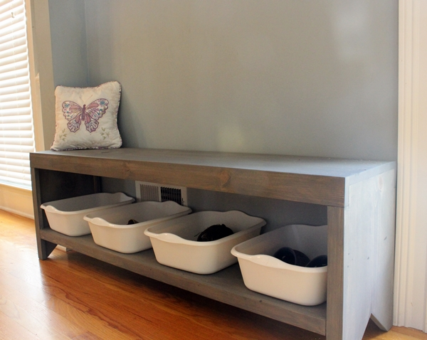 finished bench with shoe storage
