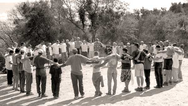 boys and men in circle