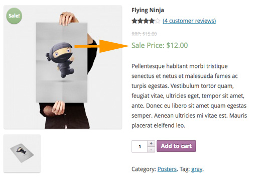 """Here you can see the arrow pointing to the text displayed that you entered in the """"Sale Price Text"""" field."""