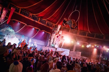 Aerial performer Hayley Wray has lift off in the Spiegeltent at the Codfish Ball, Branchage 2014