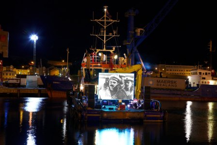 French synth duo Zombie Zombie perform a live soundtrack to Battleship Potemkin on the deck of a tugboat anchored in St Helier Harbour in 2010