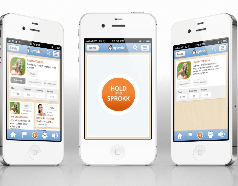 Sprokk Mobile App: UX Design, UI Design. Splash and Record Screens