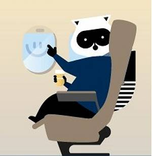 Cartoon racoon sitting in an airplane seat drawing a smiley face in a fogged up airplane window