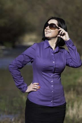 Biubiu Modena Button Shirt Purple