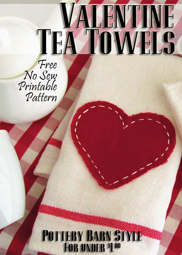 "Saying ""I love you!"" doesn't have to cost a bundle this Valentine's Day. Impress your guests with this adorable little tea towel {Pottery Barn inspired} for only $0.79! Read the easy tutorial with free printable pattern at BrenDid.com. The easy craft uses premade flour sack towels and iron-on adhesive. The best part, at under $1 each you can afford to spread the Valentine love around the whole neighborhood! - See more at: http://brendid.com/pb-inspired-valentine-tea-towels/"