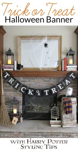 Tempting Trick Or Treat Halloween Banner Inspired By Pottery Barn This Easyburlap Banner No Sew Burlap Trick Or Treat Halloween Banner Harry Potter Pottery Barn Harry Potter Robes Pottery Barn Harry P